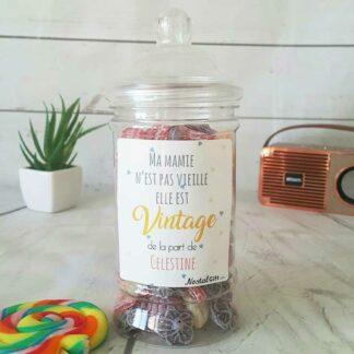 Bonbonnière personnalisée - 300g mix de bonbons anciens - Mamie vintage