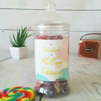Bonbonnière personnalisée - 300g mix de bonbons anciens - Meilleur parrain