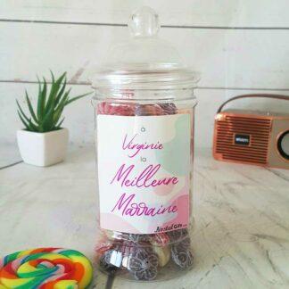 Bonbonnière personnalisée - 300g mix de bonbons anciens - Meilleure marraine
