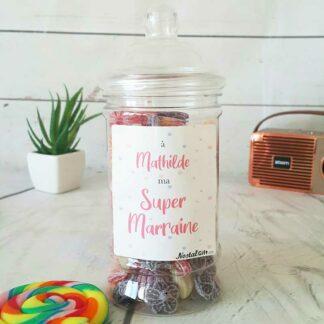 Bonbonnière personnalisée - 300g mix de bonbons anciens - Super marraine