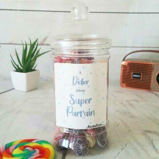 Bonbonnière personnalisée - 300g mix de bonbons anciens - Super parrain
