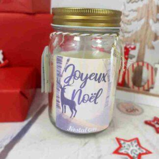 Bougie Jar personnalisée - Noël cerf