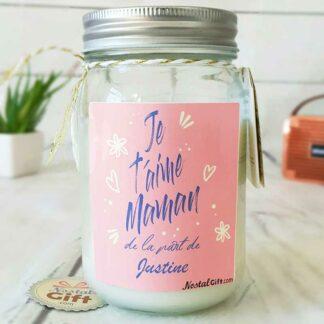 """Bougie Jar personnalisée """"Je t'aime maman"""" - cadeau maman"""
