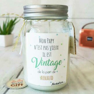 Bougie Jar personnalisée - Papy vintage