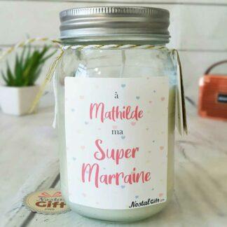 Bougie Jar personnalisée - Super marraine