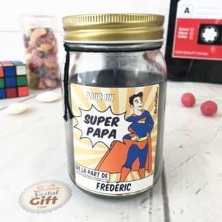 Bougie Jar personnalisé - Papa Super-héros