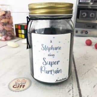 Bougie Jar personnalisée - Super parrain