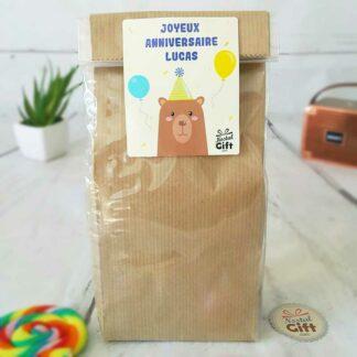"""Bougie Jar personnalisée """"Joyeux anniversaire""""- Ours"""