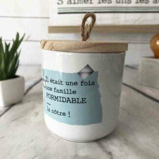 Bougie parfumée en Bois et en céramique -Famille formidable