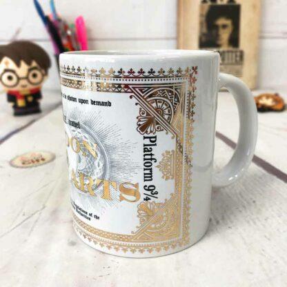 Harry Potter - Mug ticket de train Londres à Poudlard effet feuille d'or