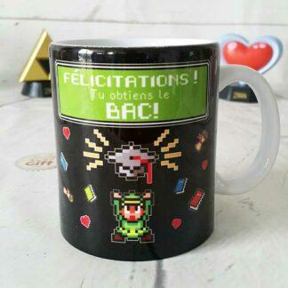 """Mug """"Félicitations ! Tu obtiens le bac ! """" thème jeux vidéos rétro"""