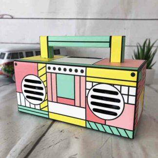 Enceinte sans fil rétro multicolore (style Boombox)