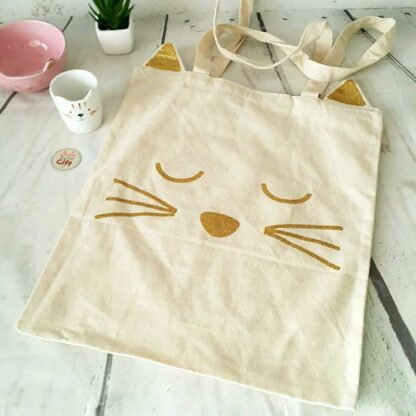 Tote bag chat blanc et sa tête de chat