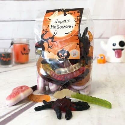 Sachet de Bonbons gélifiés - 10 tarentules, 20 vers de terre et 10 crânes gélifiés (390g) - Joyeux Halloween