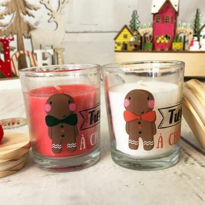 Coffret 2 Bougies de Noël avec couvercle bois et pompon (Tu es à croquer)