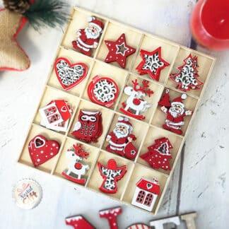 Set de 48 décorations de table en bois de noël