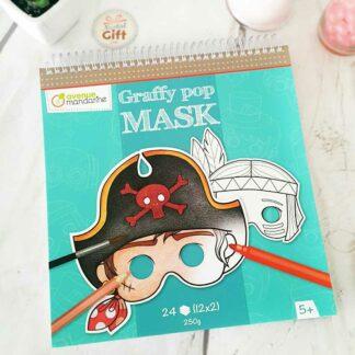 Bloc de coloriage masque prédécoupé Garçon - Graffy pop mask