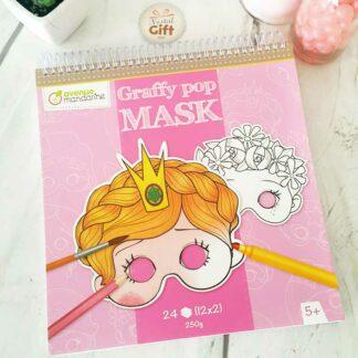 Bloc de coloriage masque prédécoupé Fille - Graffy pop mask