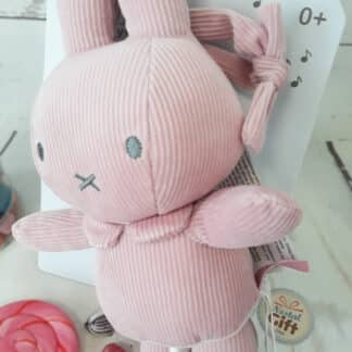 Peluche Musicale motif velours - Miffy rose