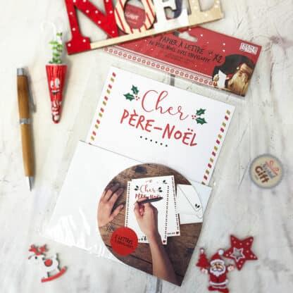 Papier à lettre de Noël avec enveloppe -Cher Père-Noël