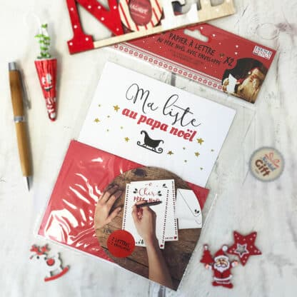 Papier à lettre de Noël avec enveloppe - Ma liste au Papa Noël