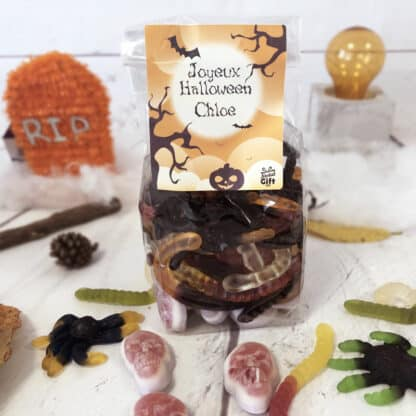 Sachet de bonbons Halloween personnalisé - 10 tarentules, 5 souris et 3 serpents (315g)