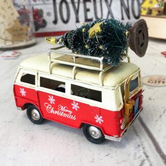 Décoration de noël - Van vintage lumineux (led) avec son sapin