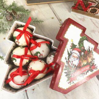 Boîte de 6 boules de Noël - Sapin Merry Christmas