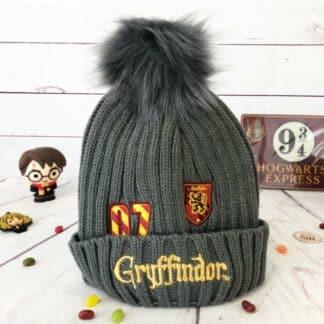 Harry Potter - Bonnet pour enfant gris à Pompon Jacquard Gryffondor