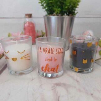 Lot de 3 bougies Chat