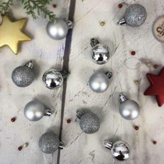Lot de 24 petites Boules de Noël - rouge, rose, doré ou argenté