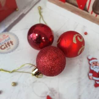 Lot de 12 petites Boules de Noël - rouge, doré ou argenté