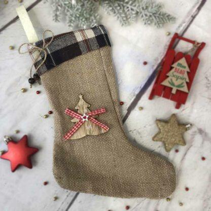 Petite chaussette de Noël en jute - 23 x 19 cm