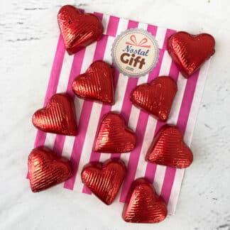 Cœur chocolat noir fourré au praliné x 10