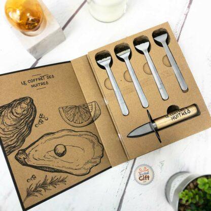 Le coffret des Huitres - 4 fourchettes et 1 couteau à huitre
