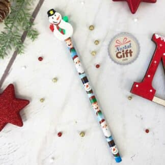 Crayon de noël avec gomme bonhomme de neige