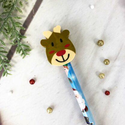 Crayon de noël avec gomme renne