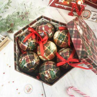 Boîte de 14 boules de Noël - Motif carreau de Noël