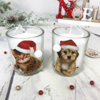 Lot de 2 Bougies de Noël chaton et chiot