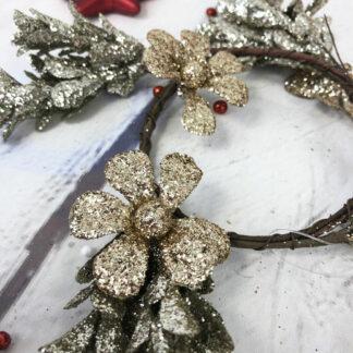 Décoration de Noël Couronne de fleurs dorée