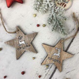 Lot de 2 décorations de noël à suspendre étoile en bois avec cerf