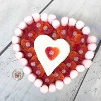 Grand gâteau cœur en bonbon guimauve (21cm)