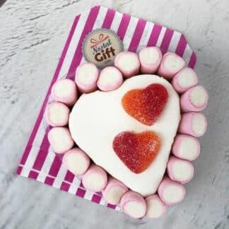Petit gâteau cœur en bonbon guimauve rose (14cm)