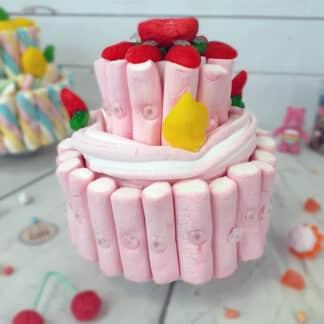 Petite pièce montée de bonbons rose guimauve
