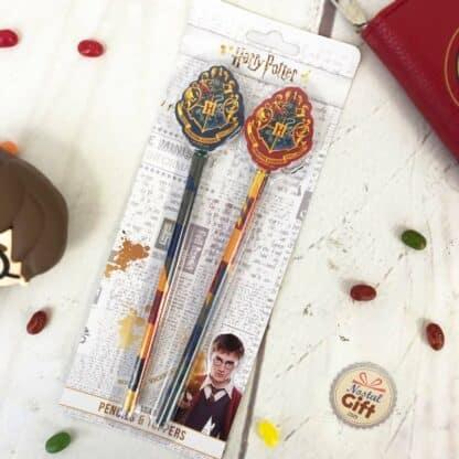 Harry Potter - Lot de 2 crayons à papier avec gomme emblème