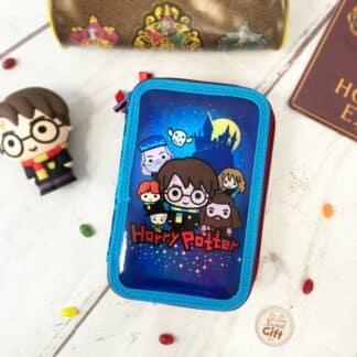 Harry Potter - Trousse métallique 3 compartiments avec accessoires
