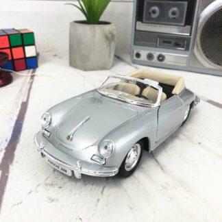 Miniature voiture Porsche grise 356B Cabriolet, en métal (18 cm)