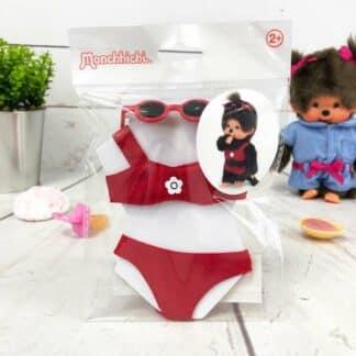 Vêtements Peluche Monchhichi Kiki - Bikini rouge et lunettes de soleil