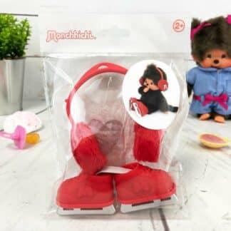 Vêtements Peluche Monchhichi Kiki - Cache oreilles et patins à glace rouges