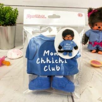 """Vêtements Peluche Monchhichi Kiki - Maillot bleu """"Mon Chhichi club"""" et baskets"""